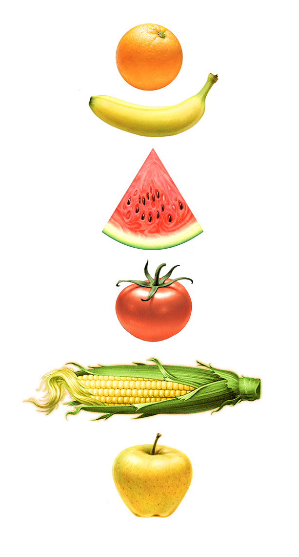 Matt_zumbo_food_corn_fruit_watermelon_orange_apple